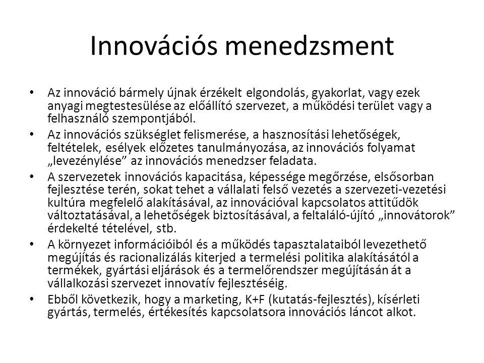 Innovációs menedzsment Az innováció bármely újnak érzékelt elgondolás, gyakorlat, vagy ezek anyagi megtestesülése az előállító szervezet, a működési t