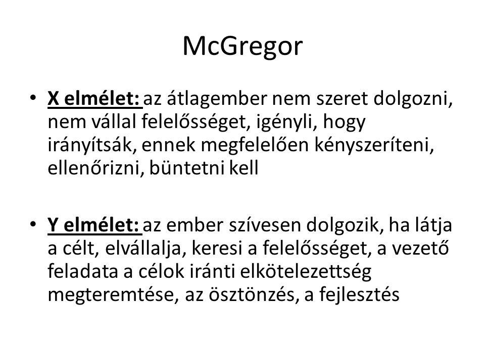McGregor X elmélet: az átlagember nem szeret dolgozni, nem vállal felelősséget, igényli, hogy irányítsák, ennek megfelelően kényszeríteni, ellenőrizni