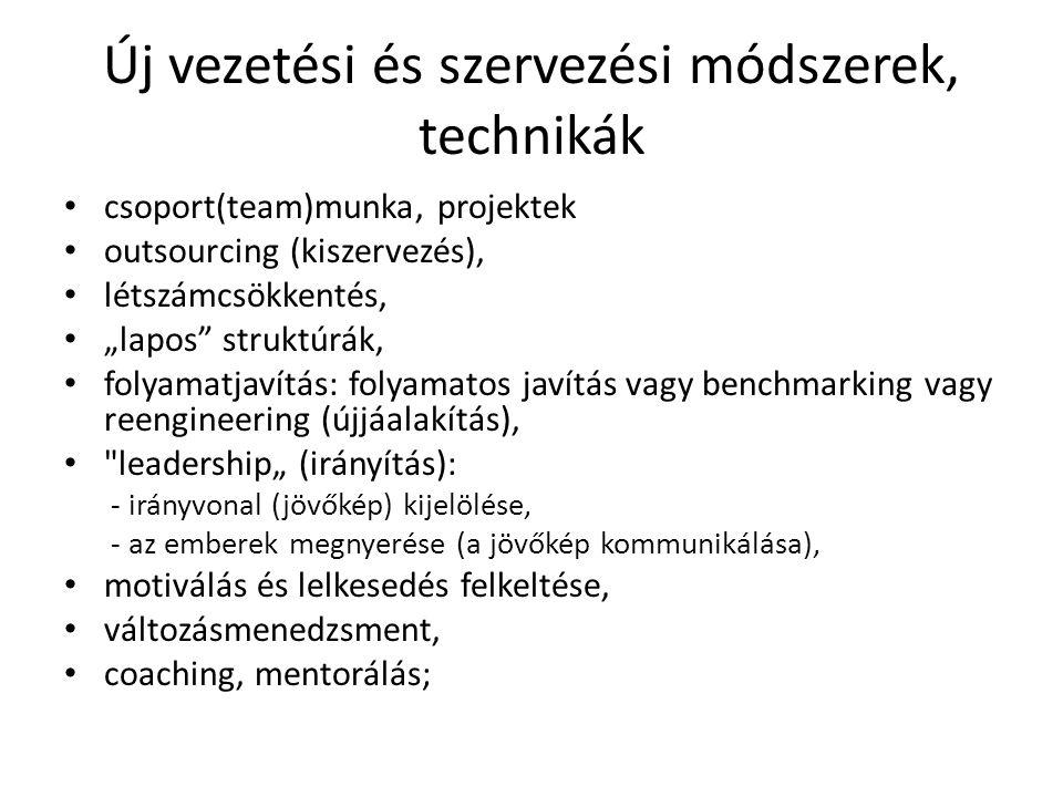"""Új vezetési és szervezési módszerek, technikák csoport(team)munka, projektek outsourcing (kiszervezés), létszámcsökkentés, """"lapos"""" struktúrák, folyama"""
