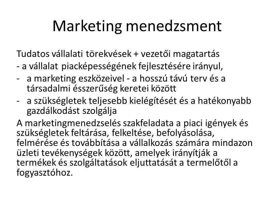 Marketing menedzsment Tudatos vállalati törekvések + vezetői magatartás - a vállalat piacképességének fejlesztésére irányul, -a marketing eszközeivel