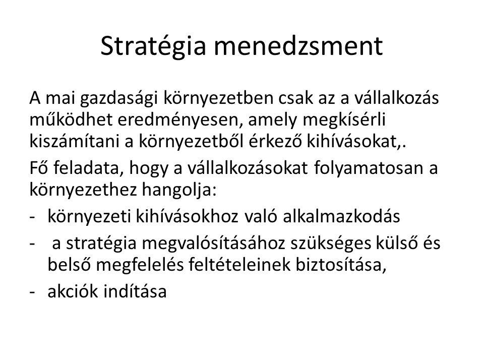 Stratégia menedzsment A mai gazdasági környezetben csak az a vállalkozás működhet eredményesen, amely megkísérli kiszámítani a környezetből érkező kih
