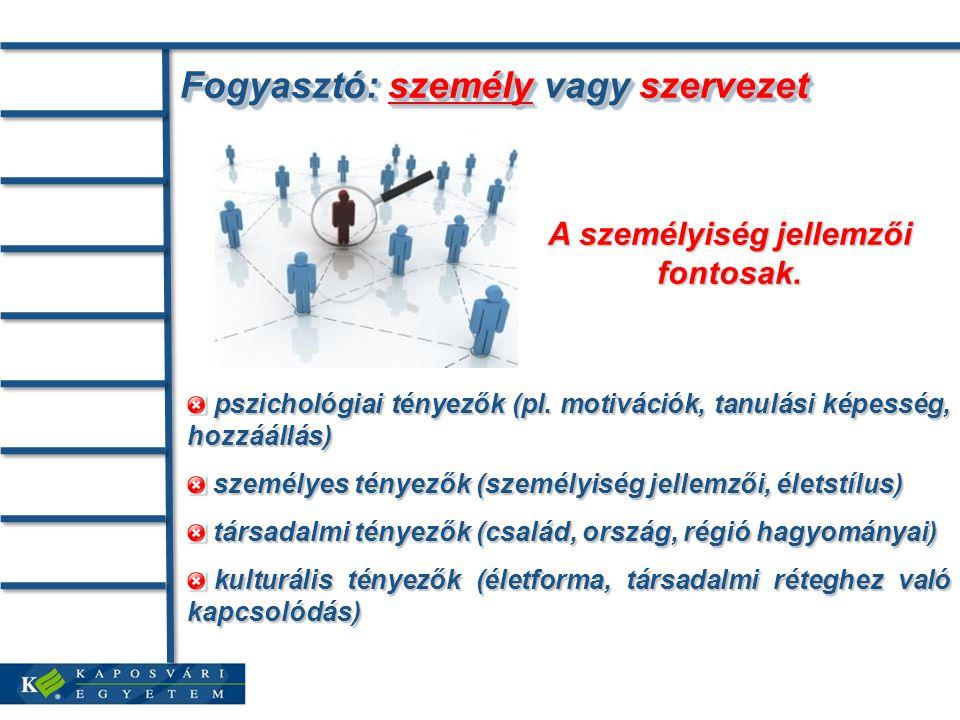 Fogyasztó: személy vagy szervezet pszichológiai tényezők (pl.