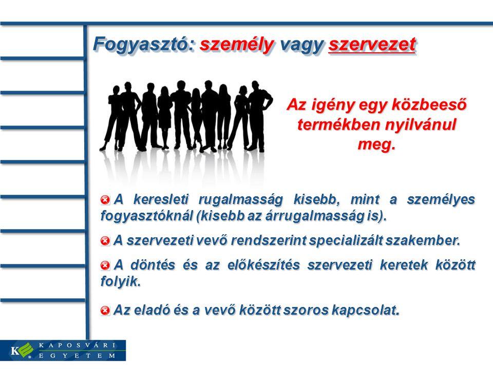 Fogyasztó: személy vagy szervezet A keresleti rugalmasság kisebb, mint a személyes fogyasztóknál (kisebb az árrugalmasság is).