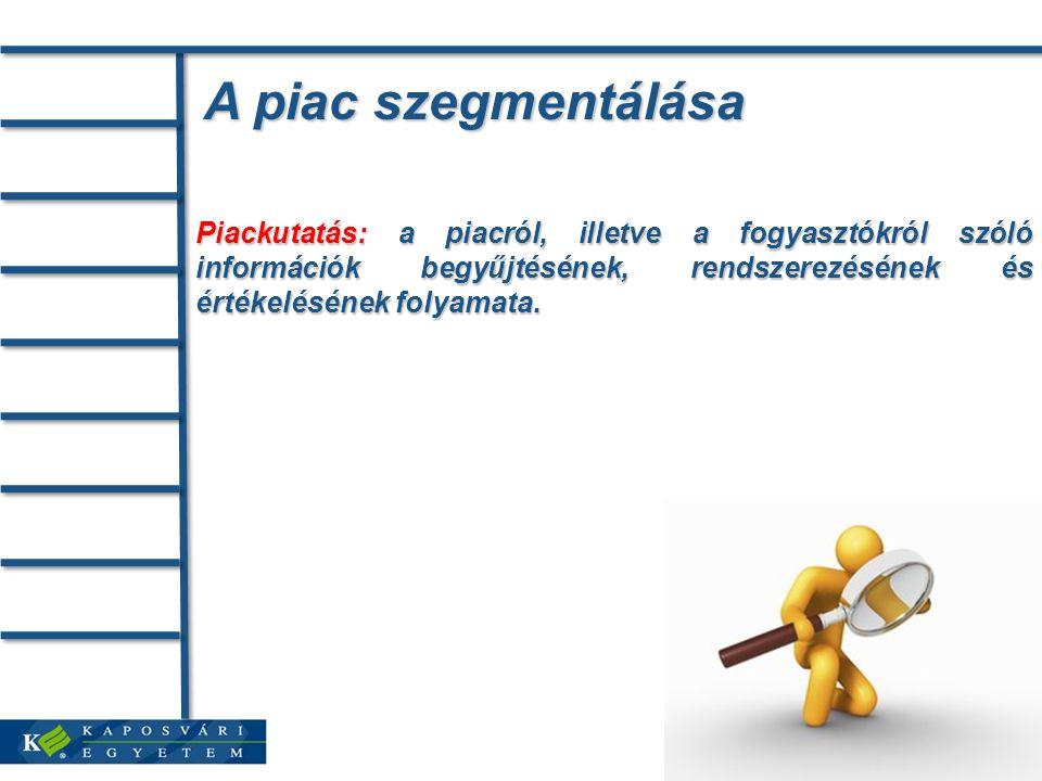 A piac szegmentálása Piackutatás: a piacról, illetve a fogyasztókról szóló információk begyűjtésének, rendszerezésének és értékelésének folyamata.