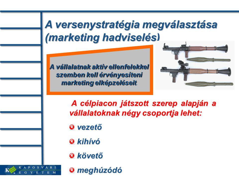 A versenystratégia megválasztása (marketing hadviselés) A vállalatnak aktív ellenfelekkel szemben kell érvényesíteni marketing elképzeléseit marketing elképzeléseit.