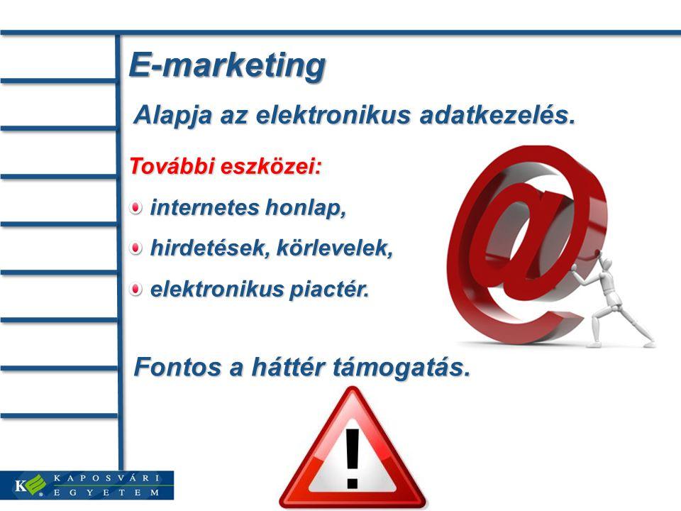 E-marketing Alapja az elektronikus adatkezelés.