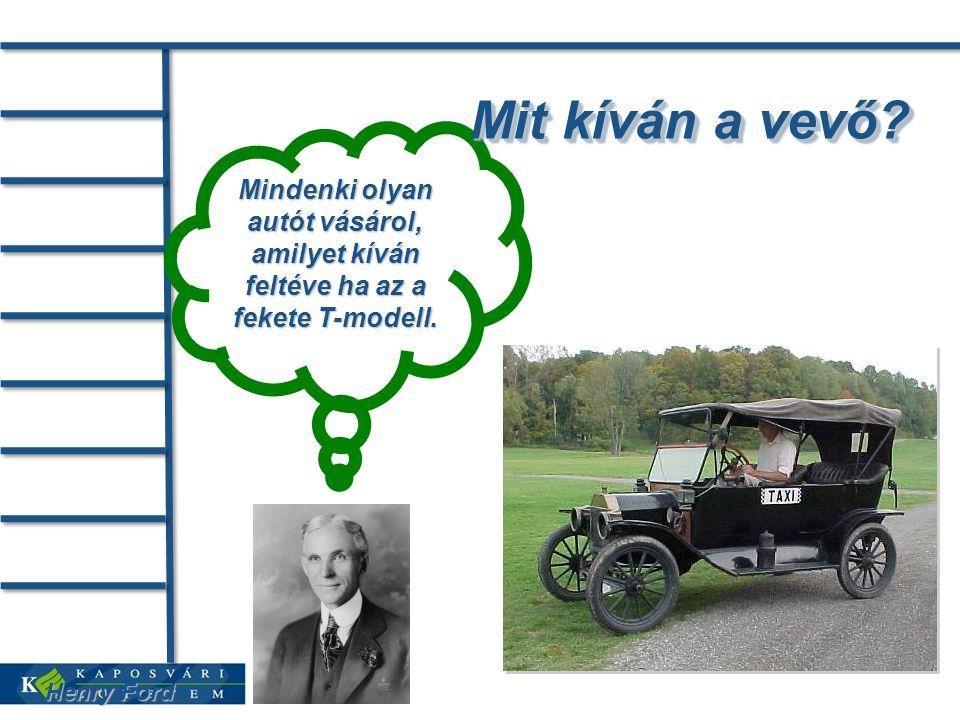 Henry Ford Mindenki olyan autót vásárol, amilyet kíván feltéve ha az a fekete T-modell.