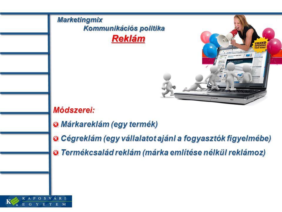 Marketingmix Kommunikációs politika Reklám Marketingmix Kommunikációs politika Reklám Módszerei: Márkareklám (egy termék) Márkareklám (egy termék) Cégreklám (egy vállalatot ajánl a fogyasztók figyelmébe) Cégreklám (egy vállalatot ajánl a fogyasztók figyelmébe) Termékcsalád reklám (márka említése nélkül reklámoz) Termékcsalád reklám (márka említése nélkül reklámoz)