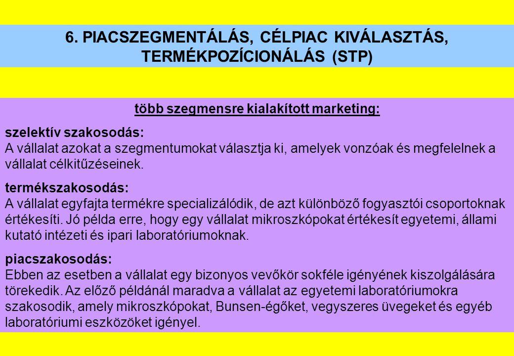 6. PIACSZEGMENTÁLÁS, CÉLPIAC KIVÁLASZTÁS, TERMÉKPOZÍCIONÁLÁS (STP) több szegmensre kialakított marketing: szelektív szakosodás: A vállalat azokat a sz