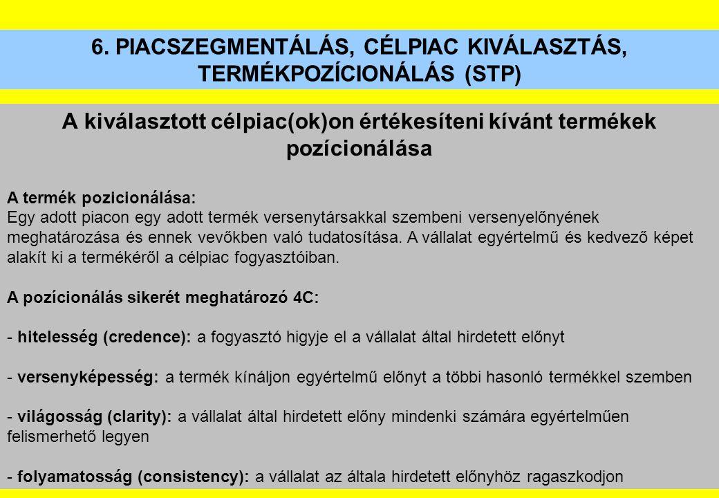 6. PIACSZEGMENTÁLÁS, CÉLPIAC KIVÁLASZTÁS, TERMÉKPOZÍCIONÁLÁS (STP) A kiválasztott célpiac(ok)on értékesíteni kívánt termékek pozícionálása A termék po