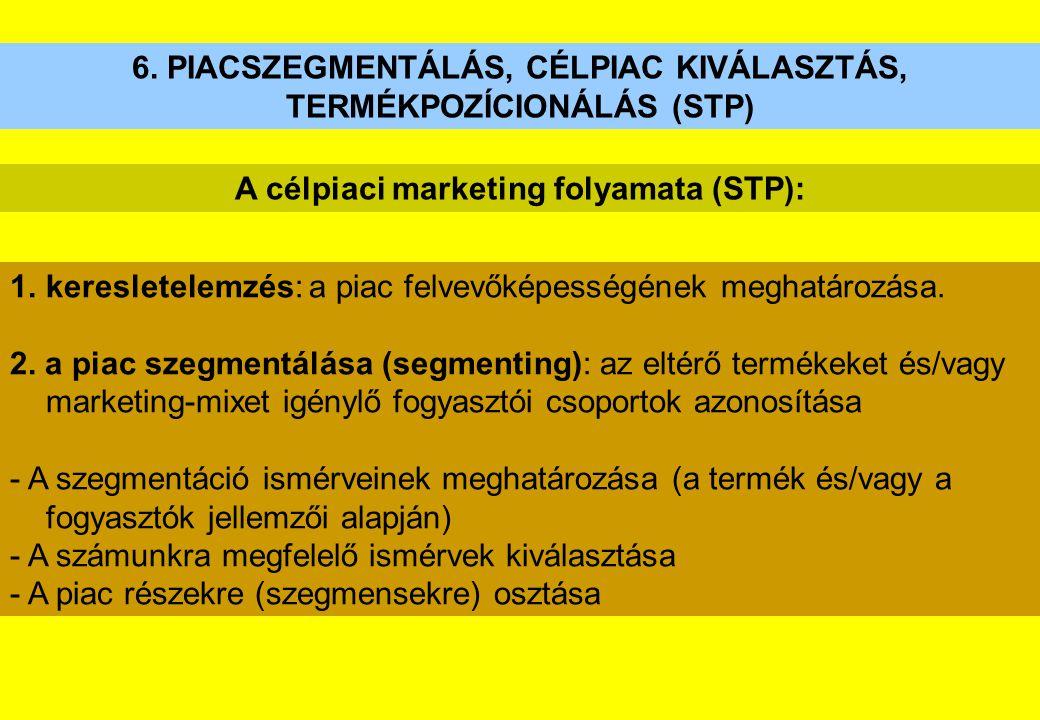 6. PIACSZEGMENTÁLÁS, CÉLPIAC KIVÁLASZTÁS, TERMÉKPOZÍCIONÁLÁS (STP) 1.keresletelemzés: a piac felvevőképességének meghatározása. 2. a piac szegmentálás