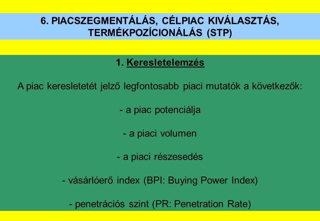 6. PIACSZEGMENTÁLÁS, CÉLPIAC KIVÁLASZTÁS, TERMÉKPOZÍCIONÁLÁS (STP) 1. Keresletelemzés A piac keresletetét jelző legfontosabb piaci mutatók a következő