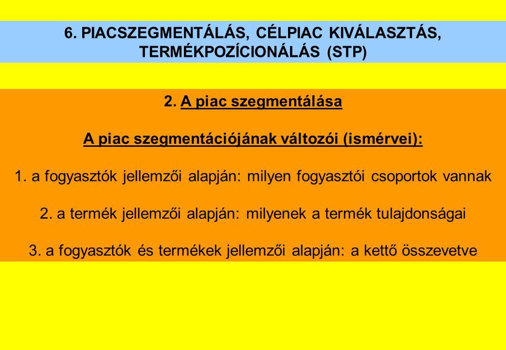 6. PIACSZEGMENTÁLÁS, CÉLPIAC KIVÁLASZTÁS, TERMÉKPOZÍCIONÁLÁS (STP) 2. A piac szegmentálása A piac szegmentációjának változói (ismérvei): 1.a fogyasztó