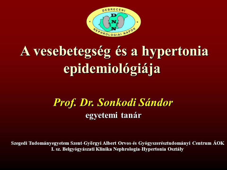 Paradoxon a hypertonia és a vesebetegségek epidemiológiájával kapcsolatban Egyre jobb módszerek használatosak a hypertonia kezelésében az agyi- és szív-érrendszeri mortalitás incidenciája csökken, a vesebetegségeké folyamatosan nő Perneger TV and Whelton PK, Curr Opin Nephrol Hypertens, 1993;2:395-403 Magyarázatok lehetnek túl magas a célvérnyomás a felírt antihypertenzív szerek nem csökkentik az intraglomerularis nyomást sokan nem kapnak vérnyomáscsökkentő kezelést (diabetes nem(!), mivel egyformán rizikótényező az említett betegcsoportokban) Luke RG, Hypertension 1991;18 (Suppl 1): 9139-9142