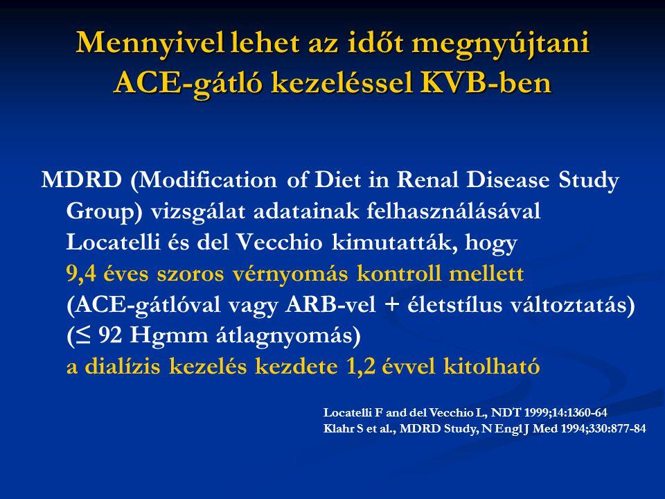Mennyivel lehet az időt megnyújtani ACE-gátló kezeléssel KVB-ben MDRD (Modification of Diet in Renal Disease Study Group) vizsgálat adatainak felhaszn