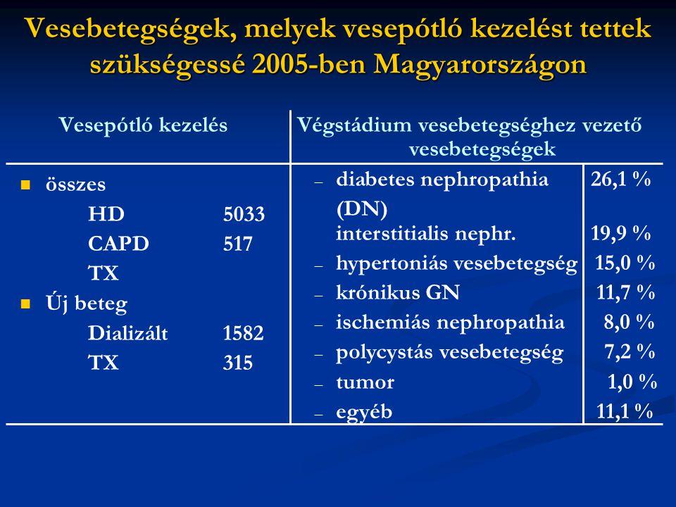 Vesebetegségek, melyek vesepótló kezelést tettek szükségessé 2005-ben Magyarországon Vesepótló kezelés összes HD5033 CAPD517 TX Új beteg Dializált1582