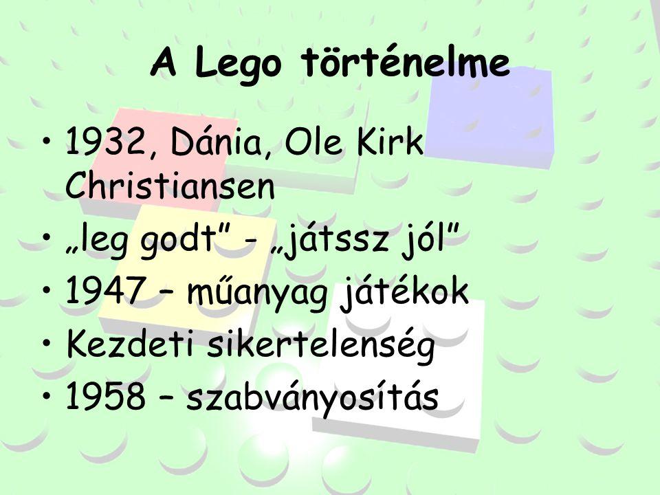 """A Lego történelme 1932, Dánia, Ole Kirk Christiansen """"leg godt - """"játssz jól 1947 – műanyag játékok Kezdeti sikertelenség 1958 – szabványosítás"""
