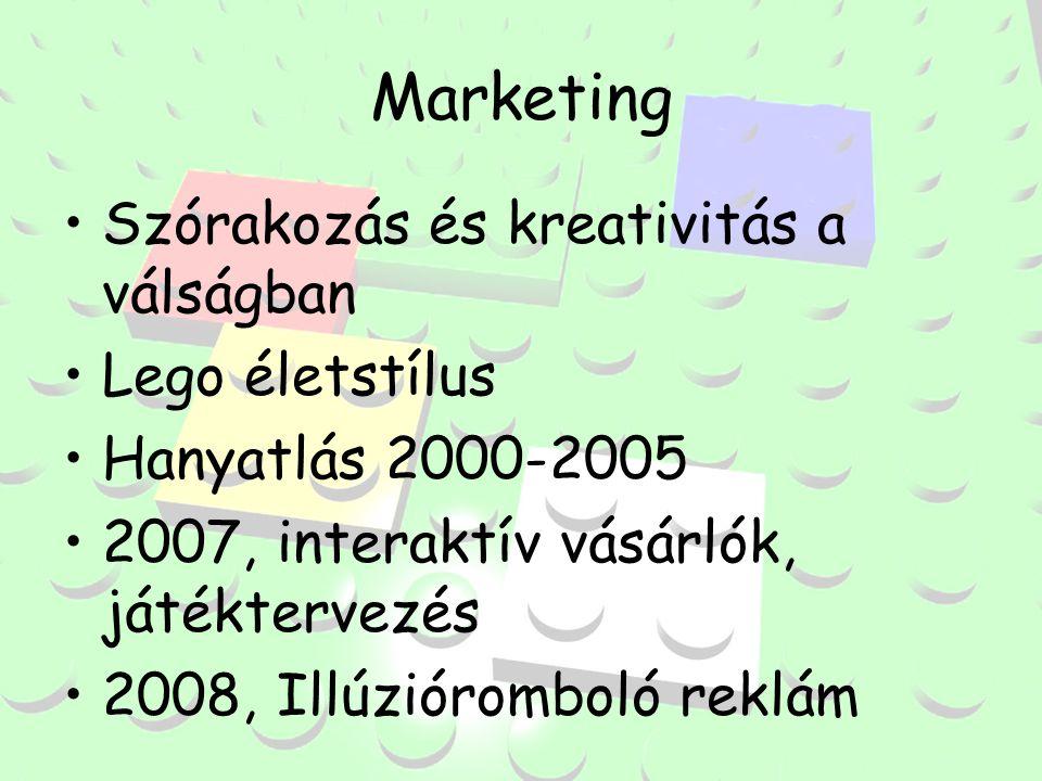 Marketing Szórakozás és kreativitás a válságban Lego életstílus Hanyatlás 2000-2005 2007, interaktív vásárlók, játéktervezés 2008, Illúzióromboló reklám