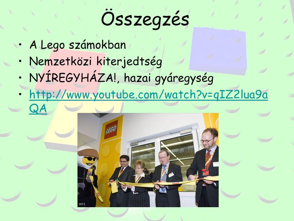 Összegzés A Lego számokban Nemzetközi kiterjedtség NYÍREGYHÁZA!, hazai gyáregység http://www.youtube.com/watch v=qIZ2lua9a QA