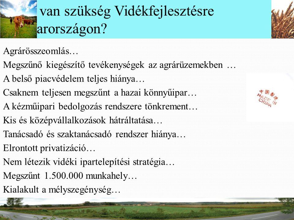 Miért van szükség Vidékfejlesztésre Magyarországon? Agrárösszeomlás… Megszűnő kiegészítő tevékenységek az agrárüzemekben … A belső piacvédelem teljes