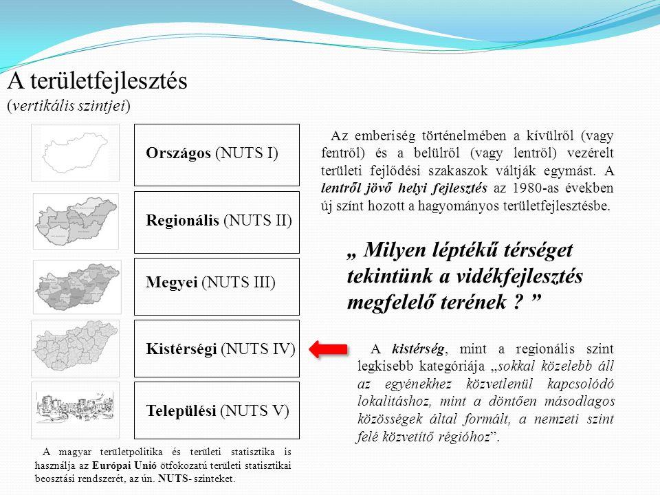 A területfejlesztés (vertikális szintjei) Országos (NUTS I) Regionális (NUTS II) Megyei (NUTS III) Kistérségi (NUTS IV) Települési (NUTS V) A magyar t