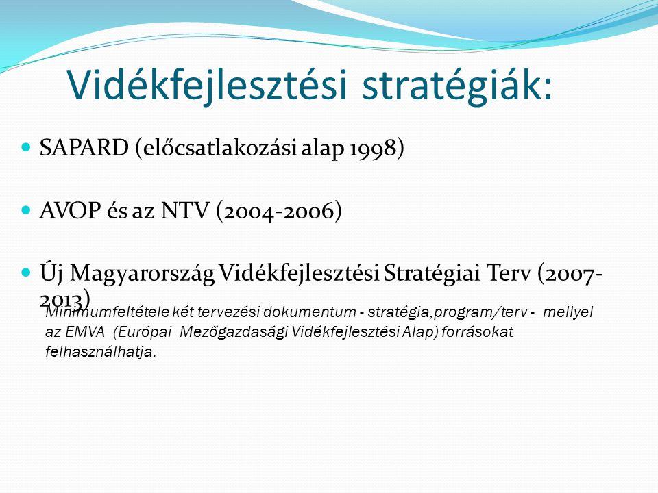 Vidékfejlesztési stratégiák: SAPARD (előcsatlakozási alap 1998) AVOP és az NTV (2004-2006) Új Magyarország Vidékfejlesztési Stratégiai Terv (2007- 201