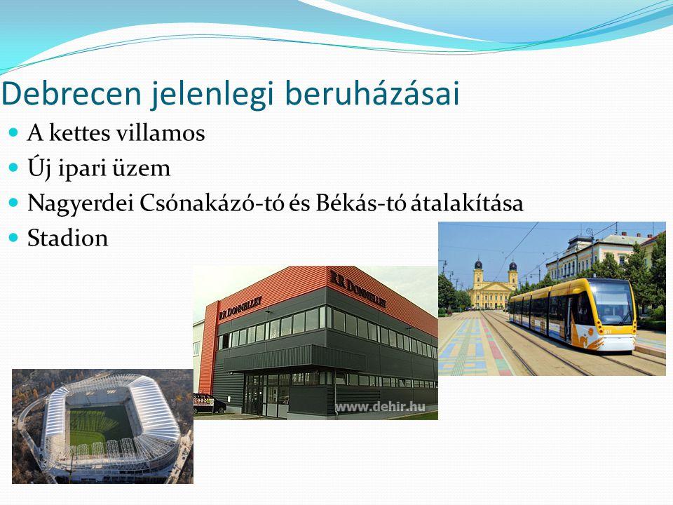 Debrecen jelenlegi beruházásai A kettes villamos Új ipari üzem Nagyerdei Csónakázó-tó és Békás-tó átalakítása Stadion