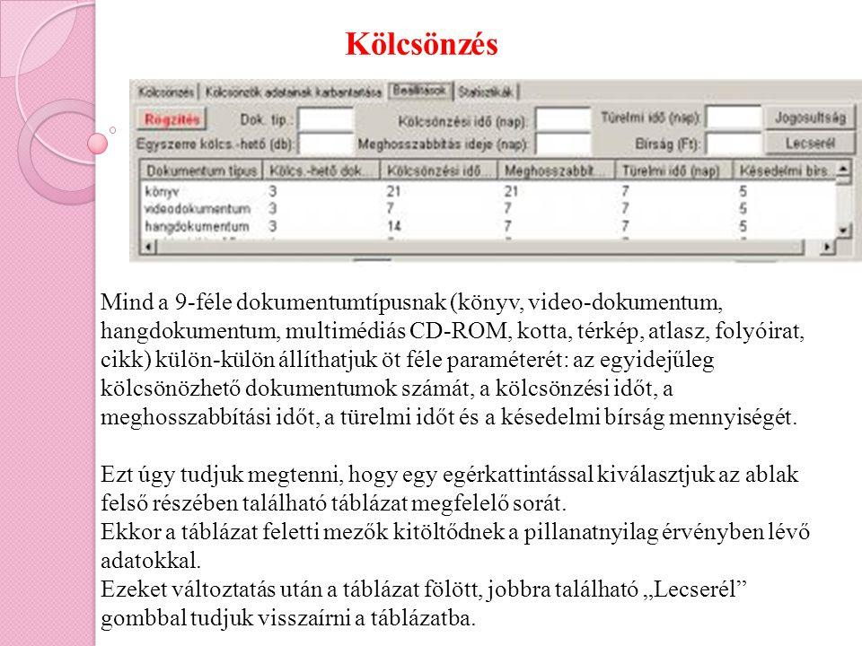 Kölcsönzés Mind a 9-féle dokumentumtípusnak (könyv, video-dokumentum, hangdokumentum, multimédiás CD-ROM, kotta, térkép, atlasz, folyóirat, cikk) külö