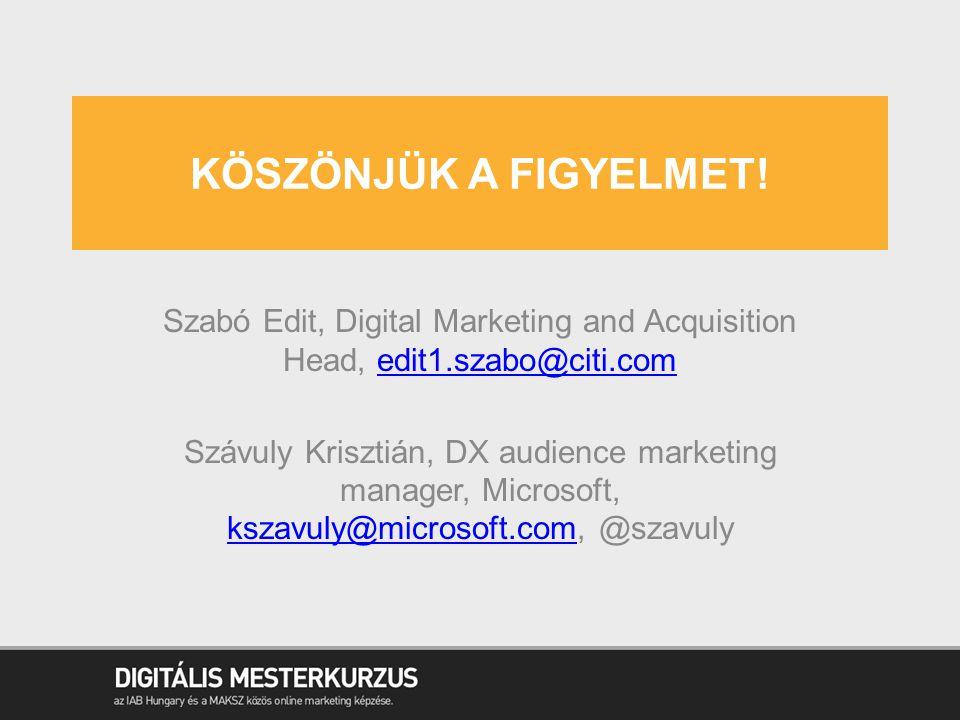 KÖSZÖNJÜK A FIGYELMET! Szabó Edit, Digital Marketing and Acquisition Head, edit1.szabo@citi.comedit1.szabo@citi.com Szávuly Krisztián, DX audience mar