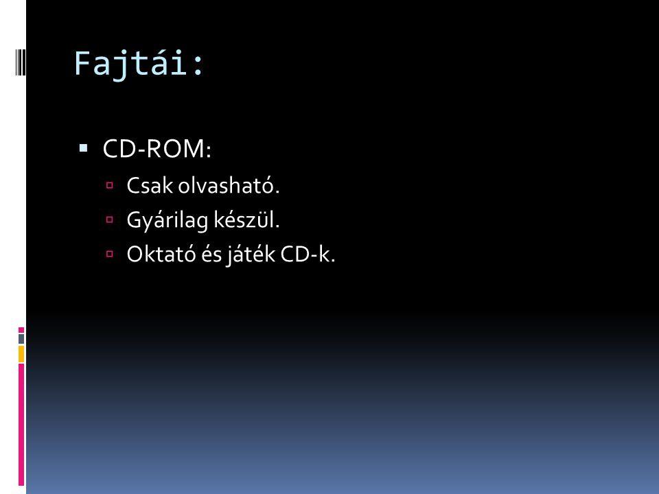 Fajtái:  CD-ROM:  Csak olvasható.  Gyárilag készül.  Oktató és játék CD-k.
