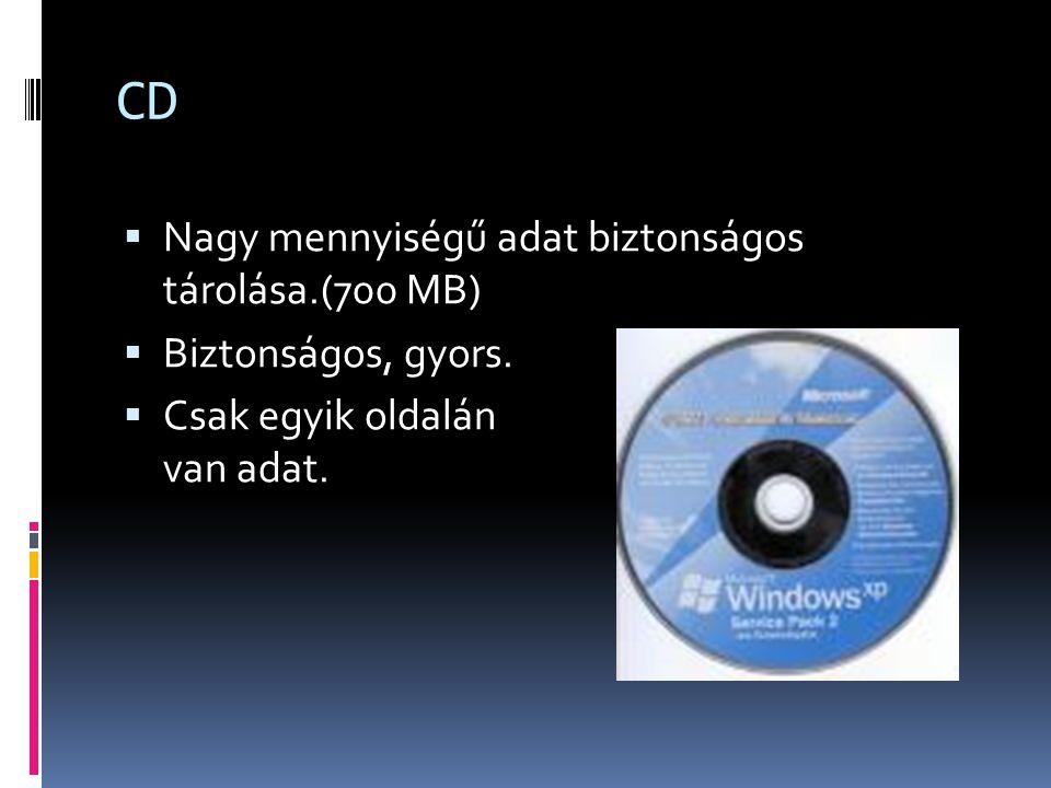 CD  Nagy mennyiségű adat biztonságos tárolása.(700 MB)  Biztonságos, gyors.