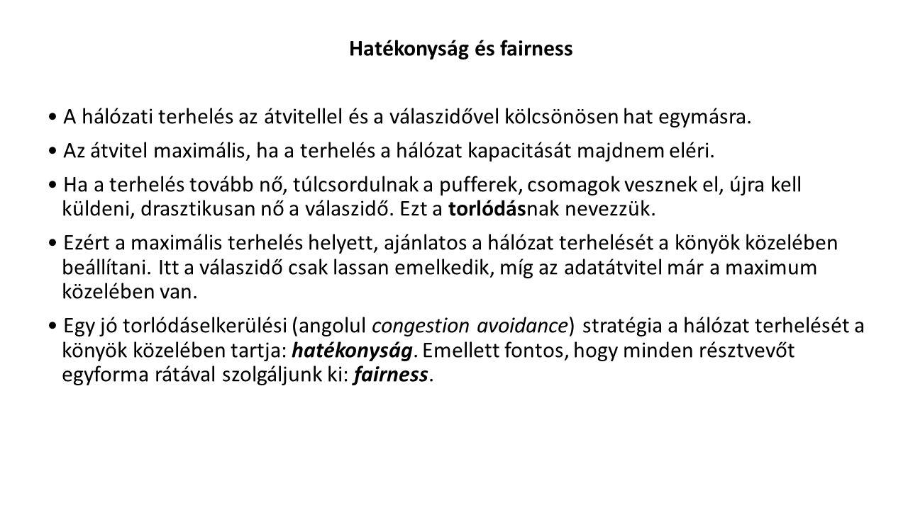 Hatékonyság és fairness A hálózati terhelés az átvitellel és a válaszidővel kölcsönösen hat egymásra.