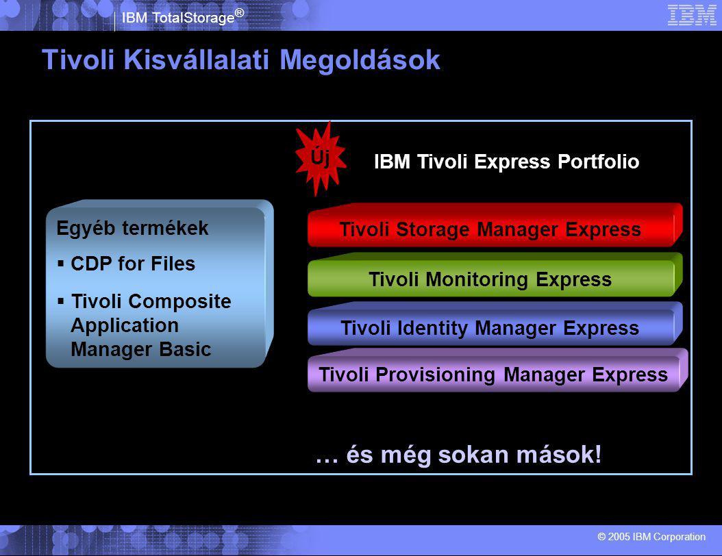 IBM TotalStorage ® © 2005 IBM Corporation Tivoli Kisvállalati Megoldások Tivoli Monitoring Express Tivoli Storage Manager Express Tivoli Identity Manager Express IBM Tivoli Express Portfolio Új … és még sokan mások.