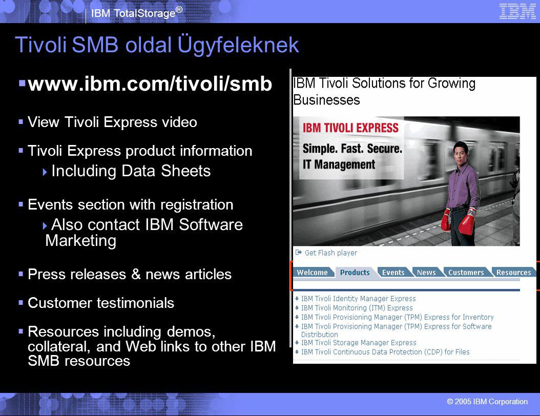 IBM TotalStorage ® © 2005 IBM Corporation Tivoli SMB oldal Ügyfeleknek  www.ibm.com/tivoli/smb  View Tivoli Express video  Tivoli Express product i