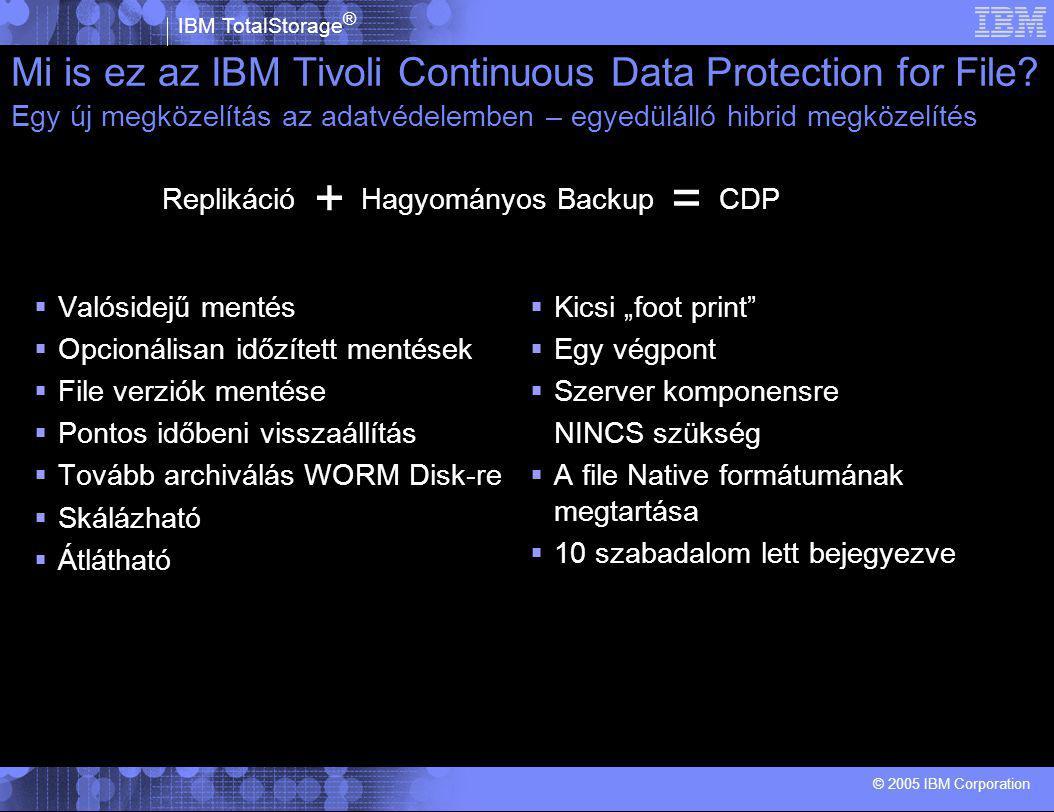 """IBM TotalStorage ® © 2005 IBM Corporation  Valósidejű mentés  Opcionálisan időzített mentések  File verziók mentése  Pontos időbeni visszaállítás  Tovább archiválás WORM Disk-re  Skálázható  Átlátható  Kicsi """"foot print  Egy végpont  Szerver komponensre NINCS szükség  A file Native formátumának megtartása  10 szabadalom lett bejegyezve Mi is ez az IBM Tivoli Continuous Data Protection for File."""