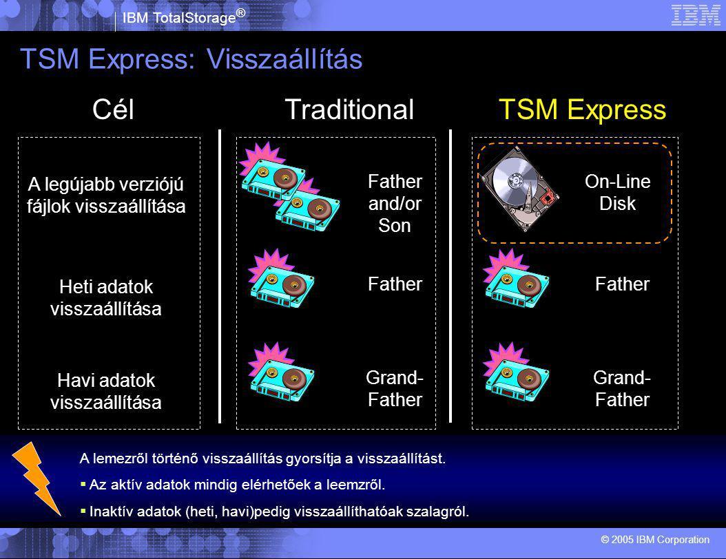 IBM TotalStorage ® © 2005 IBM Corporation TSM Express: Visszaállítás A lemezről történő visszaállítás gyorsítja a visszaállítást.