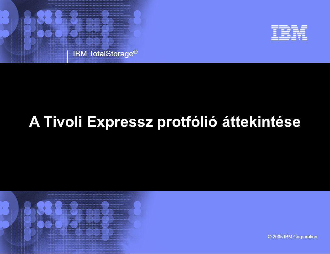 IBM TotalStorage ® © 2005 IBM Corporation Tények Növekszik az adatok mennyisége A cégek szeretnék a mentési/visszaállítási idejüket csökkenteni 70% a cégek adatainak desktop/laptop gépeken található és kevesebb, mint 8%-uk kerül mentésre.