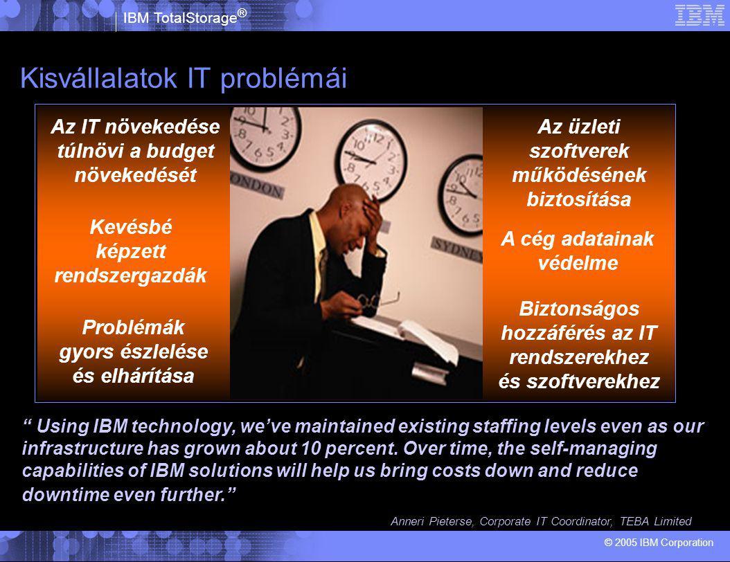 IBM TotalStorage ® © 2005 IBM Corporation 1.Az egyre nagyobb menyiségű adatot egyre tovább tart lementeni 2.Az üzlet érdekében nem történhetnek kimaradások - leállások 3.A merevlemezek árának csökkenése a replikációs megoldásokat ár-hatékonnyá teszi 4.A kritikus adatok nagy része laptopokon illetve munkaállomásokon található és nincs védve.