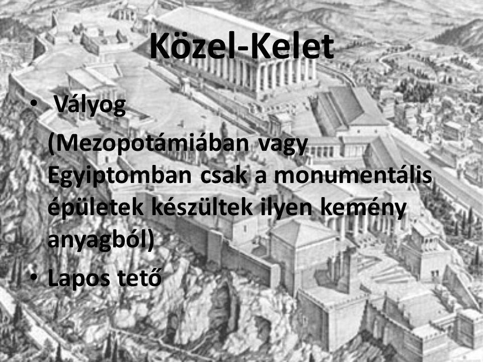 Közel-Kelet Vályog (Mezopotámiában vagy Egyiptomban csak a monumentális épületek készültek ilyen kemény anyagból) Lapos tető