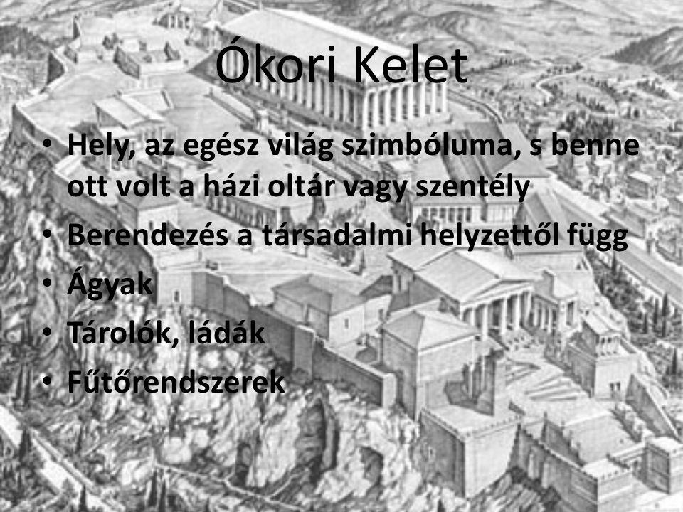 Ókori Kelet Hely, az egész világ szimbóluma, s benne ott volt a házi oltár vagy szentély Berendezés a társadalmi helyzettől függ Ágyak Tárolók, ládák Fűtőrendszerek