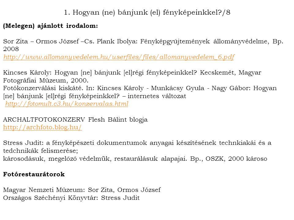 (Melegen) ajánlott irodalom: Sor Zita – Ormos József –Cs. Plank Ibolya: Fényképgyűjtemények állományvédelme, Bp. 2008 http://www.allomanyvedelem.hu/us