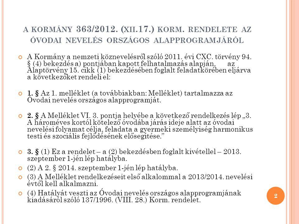 A KORMÁNY 363/2012. ( XII.17.) KORM. RENDELETE AZ ÓVODAI NEVELÉS ORSZÁGOS ALAPPROGRAMJÁRÓL A Kormány a nemzeti köznevelésről szóló 2011. évi CXC. törv