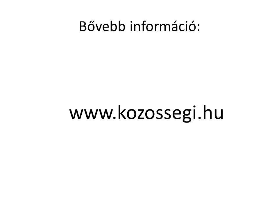 Bővebb információ: www.kozossegi.hu