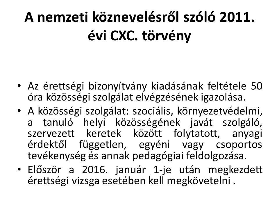 A nemzeti köznevelésről szóló 2011. évi CXC. törvény Az érettségi bizonyítvány kiadásának feltétele 50 óra közösségi szolgálat elvégzésének igazolása.