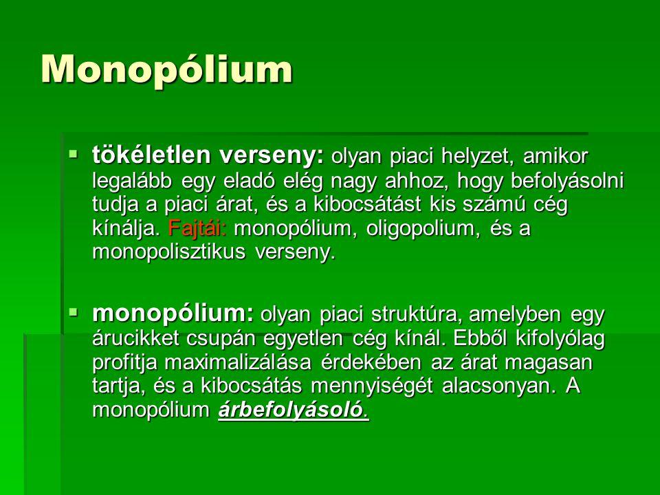 Monopólium  tökéletlen verseny: olyan piaci helyzet, amikor legalább egy eladó elég nagy ahhoz, hogy befolyásolni tudja a piaci árat, és a kibocsátást kis számú cég kínálja.