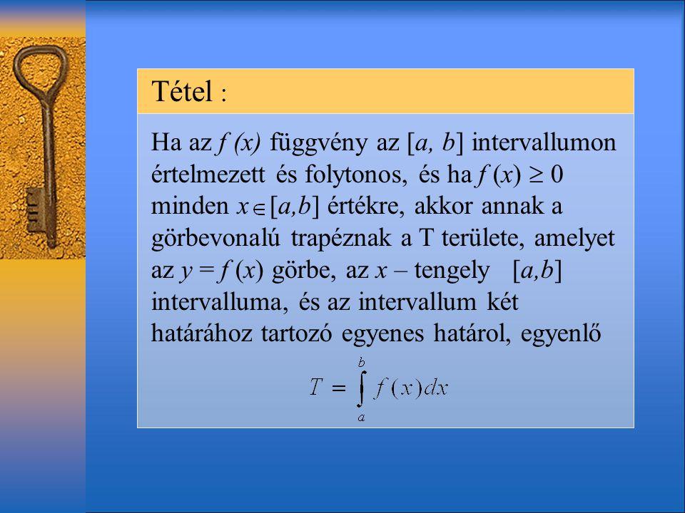 Tétel : Ha az f (x) függvény az [a, b] intervallumon értelmezett és folytonos, és ha f (x)  0 minden x [a,b] értékre, akkor annak a görbevonalú trapéznak a T területe, amelyet az y = f (x) görbe, az x – tengely [a,b] intervalluma, és az intervallum két határához tartozó egyenes határol, egyenlő