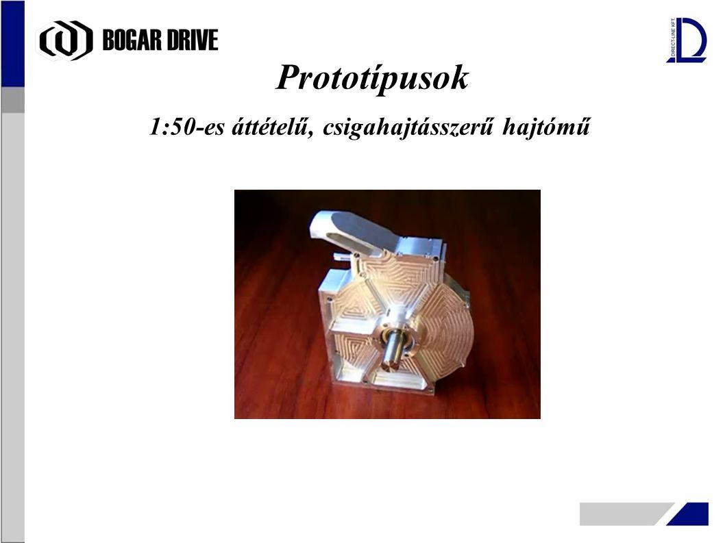 Prototípusok 1:50-es áttételű, csigahajtásszerű hajtómű