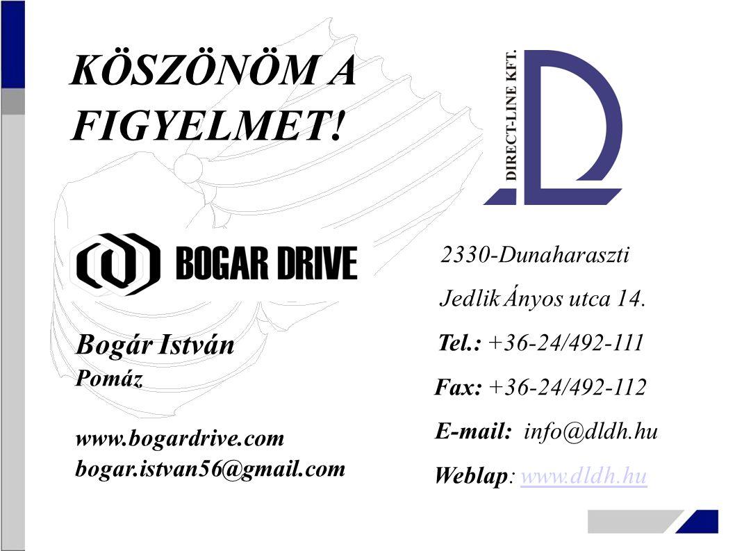 2330-Dunaharaszti Jedlik Ányos utca 14. Tel.: +36-24/492-111 Fax: +36-24/492-112 E-mail: info@dldh.hu Weblap: www.dldh.huwww.dldh.hu Bogár István Pomá