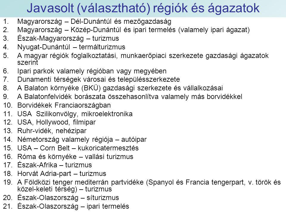 Javasolt (választható) régiók és ágazatok 1.Magyarország – Dél-Dunántúl és mezőgazdaság 2.Magyarország – Közép-Dunántúl és ipari termelés (valamely ipari ágazat) 3.Észak-Magyarország – turizmus 4.Nyugat-Dunántúl – termálturizmus 5.A magyar régiók foglalkoztatási, munkaerőpiaci szerkezete gazdasági ágazatok szerint 6.Ipari parkok valamely régióban vagy megyében 7.Dunamenti térségek városai és településszerkezete 8.A Balaton környéke (BKÜ) gazdasági szerkezete és vállalkozásai 9.A Balatonfelvidék borászata összehasonlítva valamely más borvidékkel 10.Borvidékek Franciaországban 11.USA Szilikonvölgy, mikroelektronika 12.USA, Hollywood, filmipar 13.Ruhr-vidék, nehézipar 14.Németország valamely régiója – autóipar 15.USA – Corn Belt – kukoricatermesztés 16.Róma és környéke – vallási turizmus 17.Észak-Afrika – turizmus 18.Horvát Adria-part – turizmus 19.A Földközi tenger mediterrán partvidéke (Spanyol és Francia tengerpart, v.