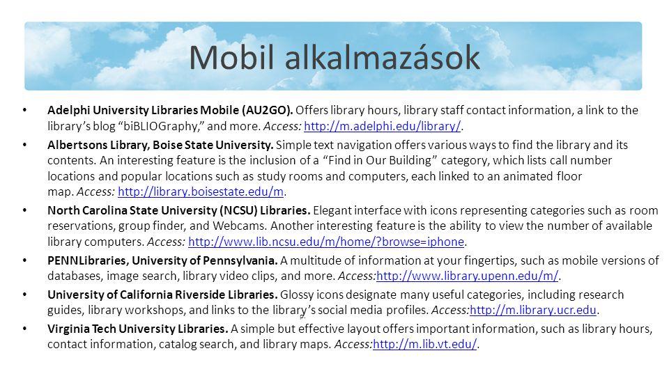 Mobil alkalmazások Adelphi University Libraries Mobile (AU2GO).
